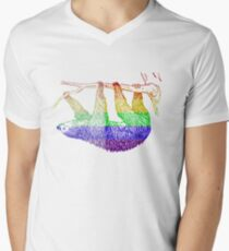 Love U Tees Funny Rainbow Animals Sloth LGBT Pride Week Swag, Unique Rainbow Gifts Men's V-Neck T-Shirt