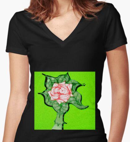 Scribblertoo Rose Women's Fitted V-Neck T-Shirt