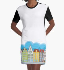 Small houses Graphic T-Shirt Dress