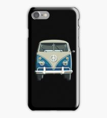 Volkswagen, Van, VW, Camper, Blue, Split screen, 1966 Volkswagen, Kombi (North America) iPhone Case/Skin