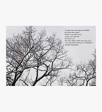 Snow In The Woods - Lewis Carroll Quotation Photographic Print