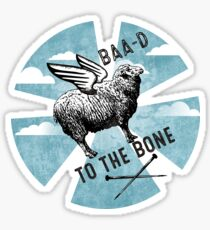 Flying sheep knitting needles bad to the bone Sticker