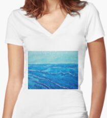 Japanese Waves original painting Women's Fitted V-Neck T-Shirt