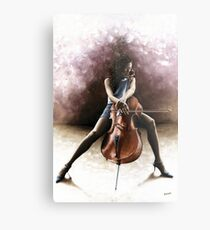 Tranquil Cellist Metal Print