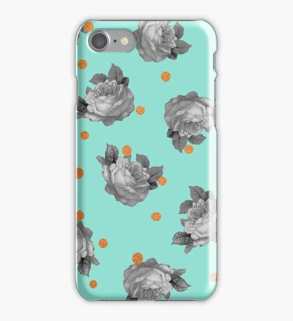 Roses and Dots in Mint iPhone Case/Skin