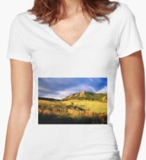 Summer At The Flatirons Women's Fitted V-Neck T-Shirt