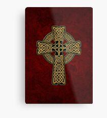 Celtic Cross in gold colors Metal Print