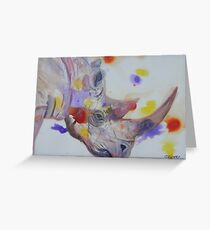 Purple Black Rhino Greeting Card
