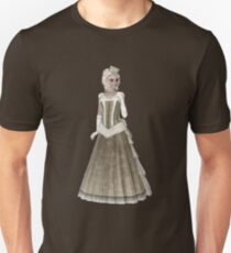 Blond Woman Wearing Olive Green and Beige Dress, Gloves and Hat. Steampunk Art T-Shirt