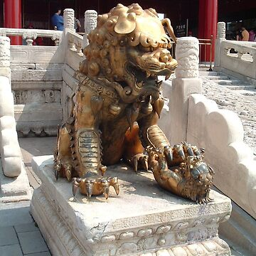 Bronze lion in The Forbidden City by teaguy