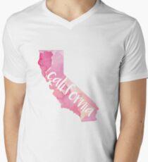 California - pink watercolor, handwritten Men's V-Neck T-Shirt