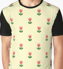Red And Green Spring Tulip Flowers Graphic T-Shirt
