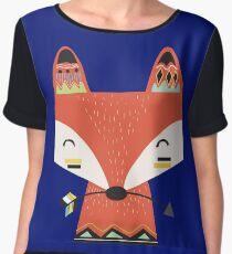 Tribal Red Fox Cartoon Animals Women's Chiffon Top