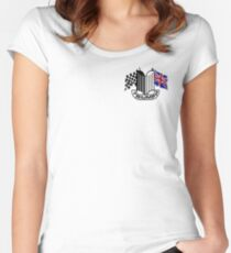 Triumph Shield with Checkered Racing and British Flag Women's Fitted Scoop T-Shirt