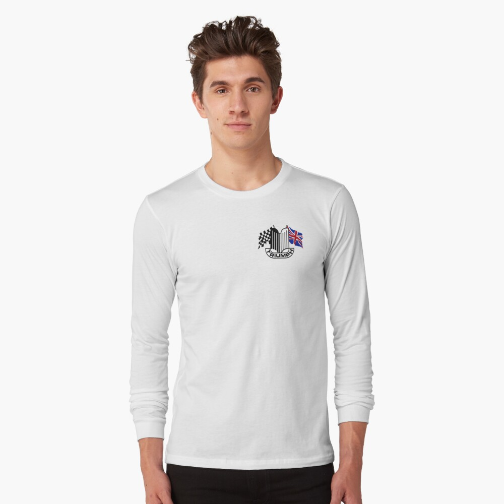 Triumph Shield with Checkered Racing and British Flag Long Sleeve T-Shirt