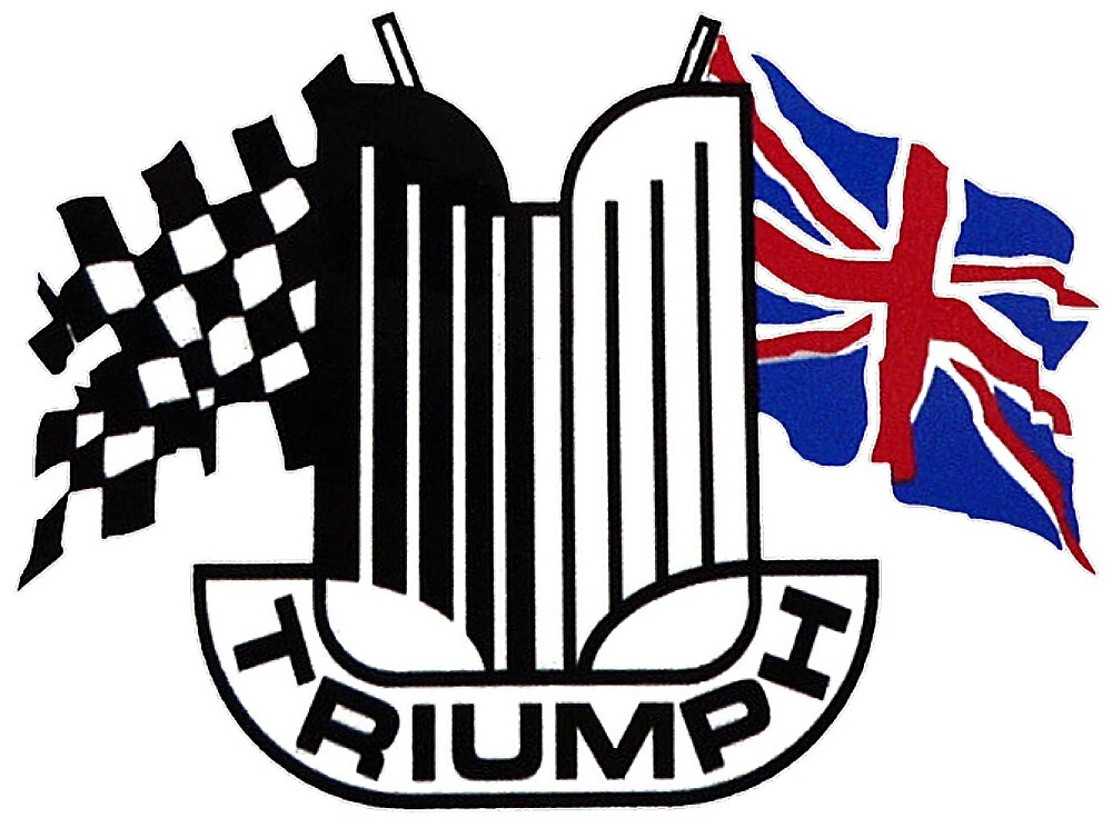 Triumph Shield with Checkered Racing and British Flag by JustBritish
