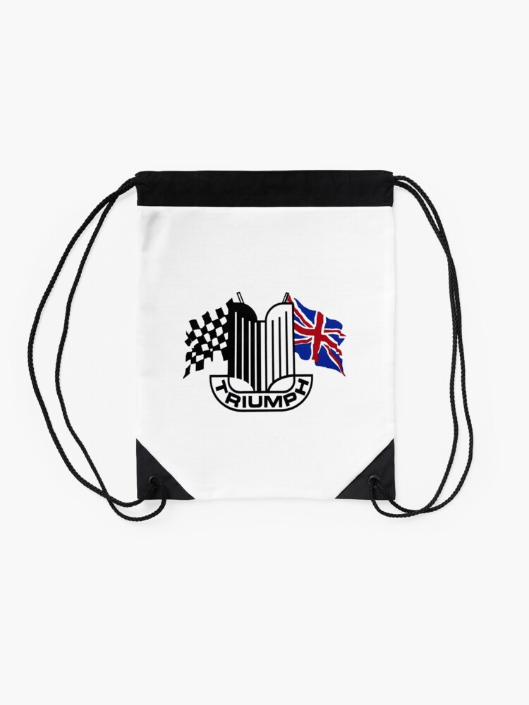 Alternate view of Triumph Shield with Checkered Racing and British Flag Drawstring Bag