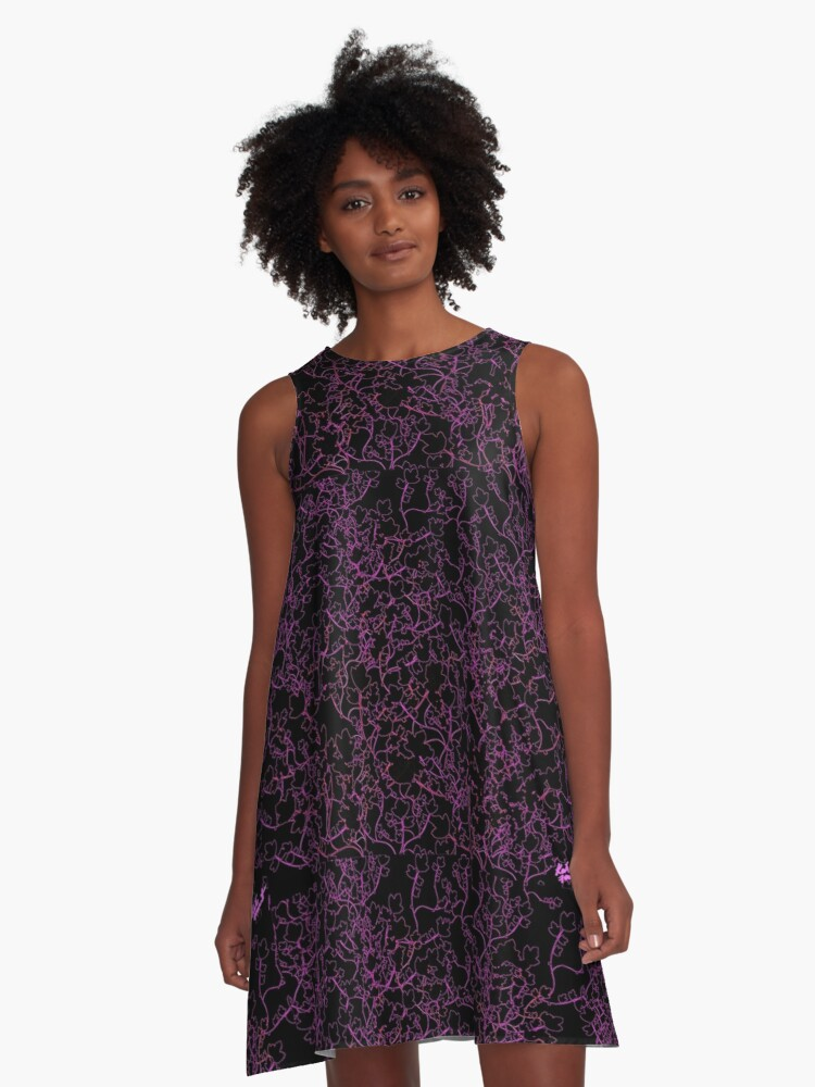 Black and Purple Pattern A-Line Dress Front