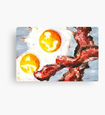 Eggs and Bacon Painting Canvas Print