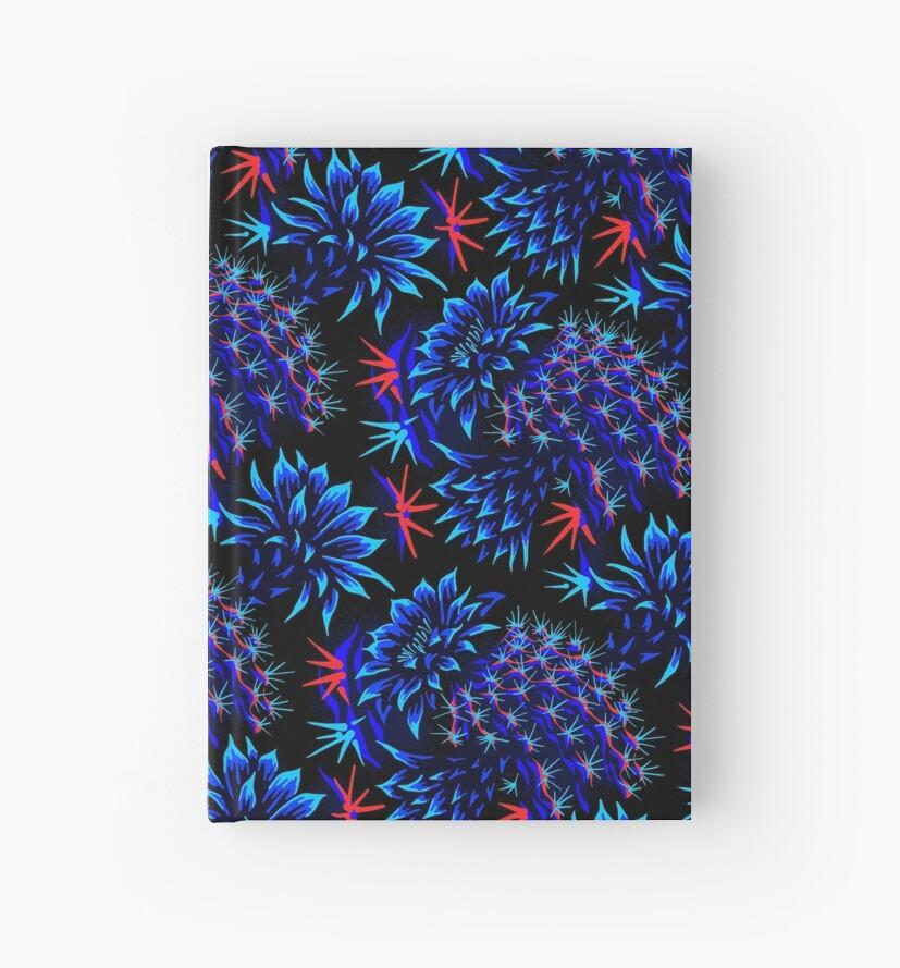 Kaktus Floral - hell blau / rot von Andrea Muller