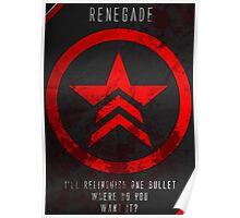 Renegade Mass Effect Poster Poster