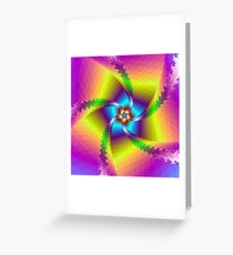 Whirligig in Yellow Blue and Green Greeting Card