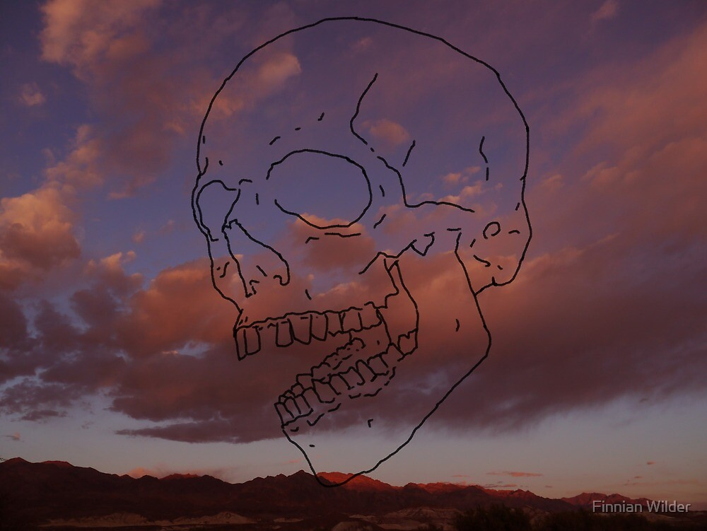 skull w/ some clouds behind by Finnian Wilder