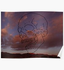 skull w/ some clouds behind Poster