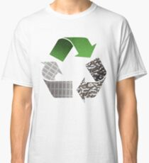 Recycle symbol with newspaper glass and metal Classic T-Shirt