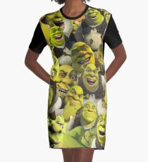 Shrek Collage  Graphic T-Shirt Dress