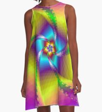 Whirligig in Yellow Blue and Green A-Line Dress