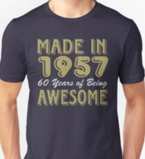 Made in 1957 60 years of being awesome (dark) T-Shirt