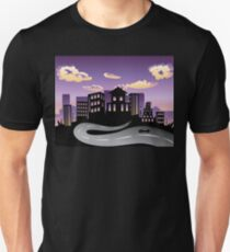 Sunset City and Road Silhouette 3 Unisex T-Shirt