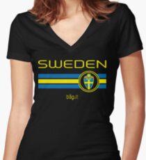 Football - Sweden (Away Black) Women's Fitted V-Neck T-Shirt
