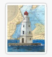 Ashland Breakwater Lighthouse WI Nautical Map Peek Sticker