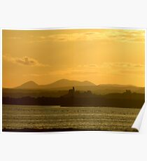 Twilight over Derryveagh mountains - with O'Doherty Castle from Inch Level Poster