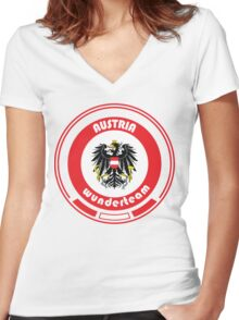 Euro 2016 Football - Team Austria Women's Fitted V-Neck T-Shirt