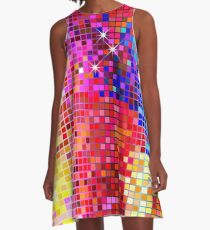 Metallic Colorful Sequins Look-Disco BallGlitterPattern  A-Line Dress