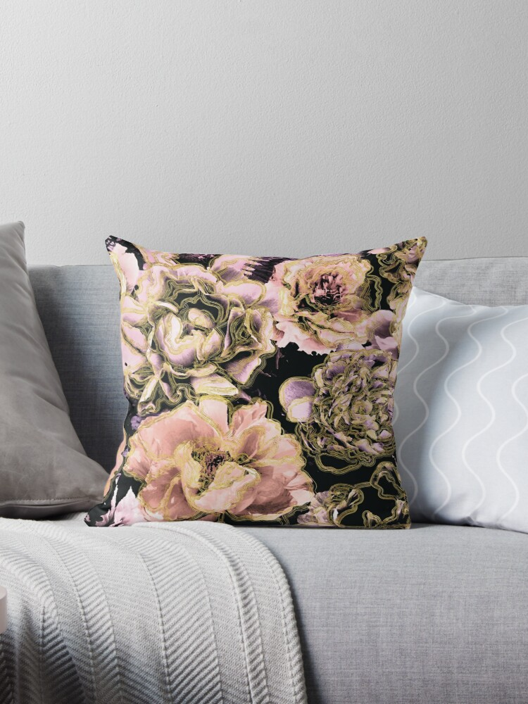 Peach, Lilac, Gold, and Black Floral Pattern by grandreverie