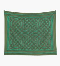 Celtic Knotwork on Green Texture Wall Tapestry