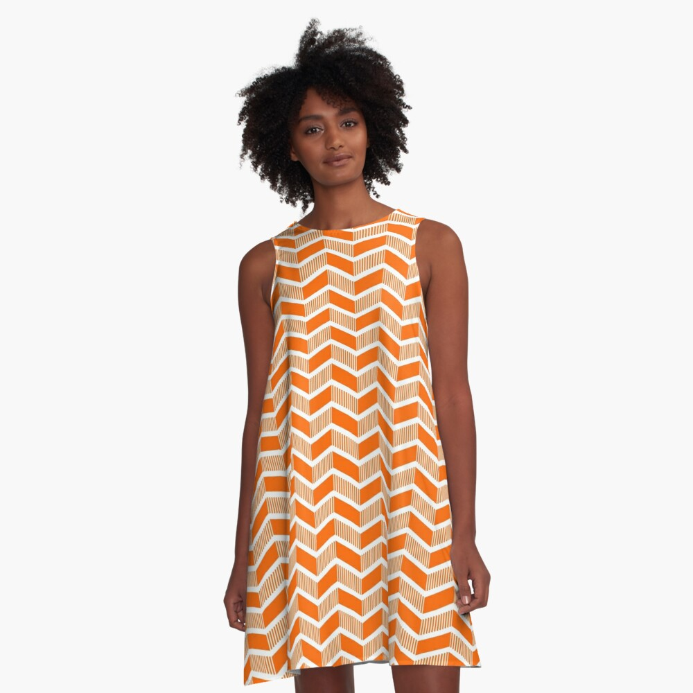 Stepped Chevrons - Orange A-Line Dress Front