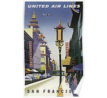 United Air Lines San Francisco Vintage Travel Poster Poster