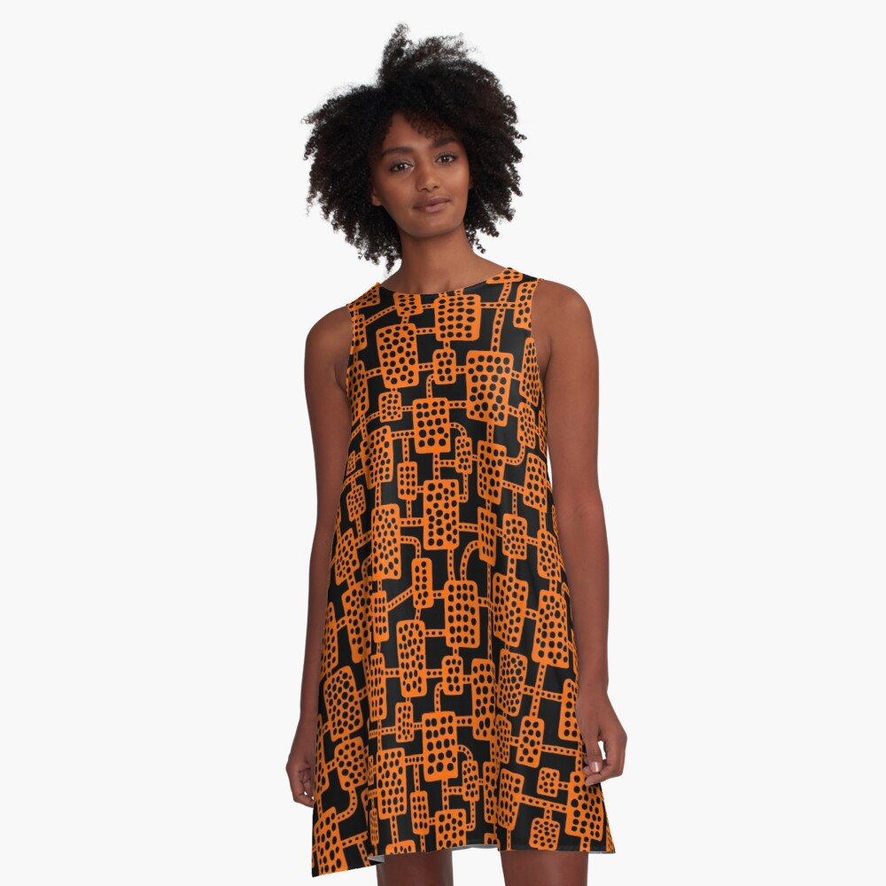Abstract pattern 041113 - Orange on Black A-Line Dress Front