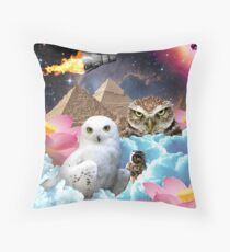 I Dream of Space Owls Throw Pillow