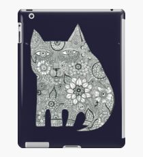 Cat black and white henna pen and ink drawing iPad Case/Skin