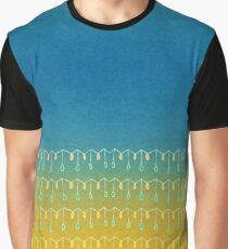 Droplets, Blue and Yellow Graphic T-Shirt