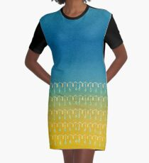 Droplets, Blue and Yellow Graphic T-Shirt Dress