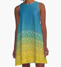 Droplets, Blue and Yellow A-Line Dress
