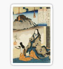 Utagawa Kuniyoshi - Empress Jito Tennoearly 1840. Woman portrait: sensual woman, geisha, kimono, courtesan, silk, beautiful dress, umbrella, wig, lady, exotic, beauty Sticker