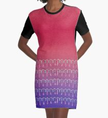 Droplets, Pink and Purple Graphic T-Shirt Dress